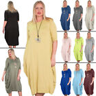 New Womens Quirky 3/4 Sleeve Plain Jersey Tulip Long Maxi Dress Size 10 12 14 16