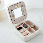 Womens Jewelry Box Travel Makeup Organizer with Mirror and Zipper Cosmetic Case