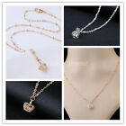 Women Charm Pendant Cute Crystal Inside Small Hollow Crown Girls Necklaces New