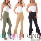 Womens Ladies Palazzo Plain Flared Crepe Wide Leg Bell Bottom Trousers Pants New