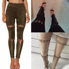 Sexy Women Bandage Lace-Up Suede High Waist Skinny Pencil Pants Stretch Leggings