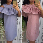 Women's Striped Cold Shoulder Ruffle Dress Casual Party Shirt Short Mini Dress