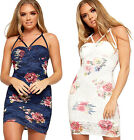 Womens Strappy Floral Lace Lined Bustier Dress Ladies Bodycon Print Cross Over