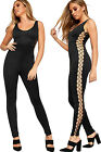 Womens Lace Up Eyelet Side Jumpsuit Ladies Full Length Sleeveless Trousers Pants