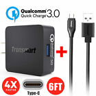 [Certified]QC3.0 Quick Charge 3.0 Fast Home Travel Wall Charger+6FT USB C Cable