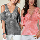 Fashion Summer Womens Cold Shoulder V Neck Slim Casual Blouse Shirt Tops T-shirt