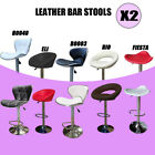 2 x New PU PVC Leather Bar Stool Kitchen Chairs Gas Lift Black White Red Brown