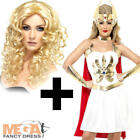 She-Ra Superhero Costume + Wig Ladies Fancy dress Womens He-Man Cartoon Outfit