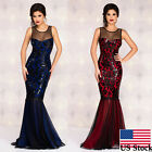 US Women Formal Wedding Bridesmaid Long Sequins Ball Prom Gown Cocktail Dress