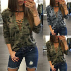 Women Deep V Neck Long Sleeve Camouflage Tops Blouse Loose T-Shirt Casual Top