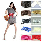 New Fashion Women PU Leather Self Tie Bowknot Band Wrap Around Waist Belt Band