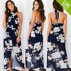 Women Sleeveless Floral Print Split Maxi Long Backless Halter Neck Sun Dress