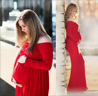 Maternity Women Off Shoulder Photography Maxi Dress Cotton Long Sleeve Props HX