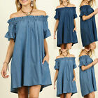 US PLUS SIZE WOMENS OFF SHOULDER BARDOT BUTTON DENIM LOOK SHIRT DRESS TOPS