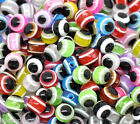 Wholesale Lots Gift Mixed Multicolor Evil Eye Stripe Resin Beads 6mm