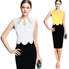 Womens Elegant Contrast Patchwork Keyhole Casual Work Party Bodycon Pencil Dress