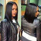 Silky BOB Straight Wig 100% Indian Remy Human Hair Full Lace Front Wigs Black #z