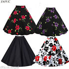 Us Vintage Womens High Waist Skater Flared Pleated Swing Swing Midi Skirt Dress