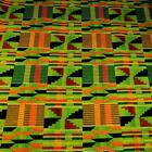 African Wax Dyed Kente Print Cloth Cotton Fabric Green, Yellow, Black, Orange