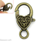 "Wholesale Lots Lobster Clasps Heart Bronze Tone 26mmx14mm(1""x4/8"")"