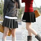 Fashion Women Stretch High Waist Mini Skirt Plain Skater Flared Pleated Dress A+