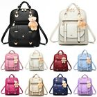 Women Backpack Leather Girls School Bag Rucksack with Cartoon Pendant Travel Bag