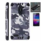 ZTE Slim Case + TEMPERED GLASS/ Duo Layer Phone Cover GRAY CAMO COMBAT