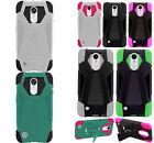 For LG Harmony M257 Turbo Layer HYBRID KICKSTAND Rubber Case Cover +Screen Guard
