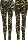 Womens Camouflage Print Badge Jeans Ladies Skinny Leg Stretch Pocket Patch 6-14