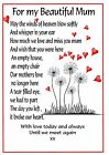 A* Female Relation Graveside Card Mum Daughter Memorial Keepsake no 20