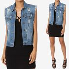 TheMogan Vintage Tomboy Distressed Ripped Trucker Relaxed Jean Denim Vest Gilet