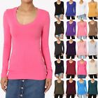 TheMogan Basic Solid Plain Solid Scoop Neck Long Sleeve T-Shirt Cotton Span Tee