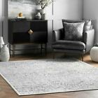 nuLOOM Traditional Vintage Geometric Area Rug in Grey and Ivory