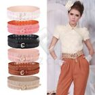 Hollow Flower Lace Princess Style PU Leather Wide Candy Color Belt