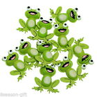 LOTS Wooden Embellishments Green Charm Frog Pattern Fit Necklace/DIY 38x33mm