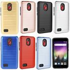 For ZTE DUO MAX 4G LTE HYBRID KICK STAND Rubber Case Cover +Screen Protector