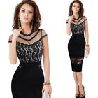 Women Sexy See Through Mesh Floral Lace Club Party Cocktail Bodycon Pencil Dress