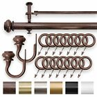 """IMPERIAL 1.25"""" Double Curtain Drapery Rod Set Antique Brown 28""""- 240"""" Oversized"""
