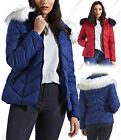 NEW WOMENS QUILTED WINTER COAT LADIES PUFFER FUR COLLAR HOODED JACKET PARKA 6 14