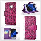 Purple Beautiful 3D Rose Flower wallet Leather case cover with strap for phone