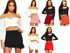 Womens Frill Flared Ruffle Hem Short Crepe Elasticated Stretch Ladies Mini Skirt