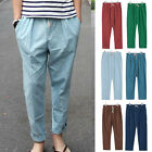 Plus Size Men Casual Linen Jogger Harem Pants Long Trouser Cropped Slacks Pants
