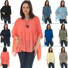 Women Top Ladies Italian Lagenlook Tunic Chiffon Smock Batwing Sleeve Scoop Neck