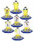 Blue Yellow Western Cowgirl Hat Boot Girl Clothing Set Shirt Top Pettiskirt 1-8Y