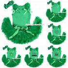 St Patrick's Day PRINTING Green Top Newborn Baby Girl Kelly Green Skirt 3-12M