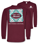 Southern Couture Preppy Thankful Grateful Blessed Paisley Long Sleeve T-Shirt
