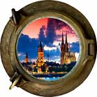 Huge 3D Porthole Enchanted Cathederal View Wall Stickers Film Decal Wallpaper