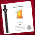 Personalised Handmade Birthday Card GGC01 / Adult Male / Beer Lager Glass Drink