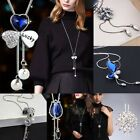 Women Rhinestone Crystal Pendant Necklace Long Sweater Chain Jewelry Popular
