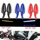 "Pair 7/8"" Motorcycle Led Turn Signal DRL Brush Bar Carbon Hand Guard Protectors"